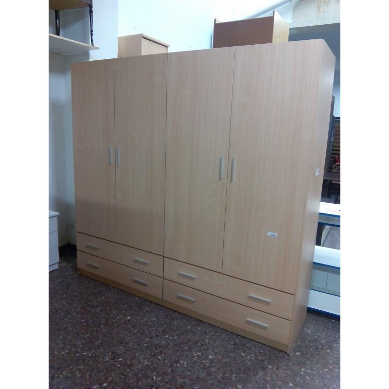 Armario 4 puertas con cuatro cajones - Muebles Mir - Muebles de Ocasión